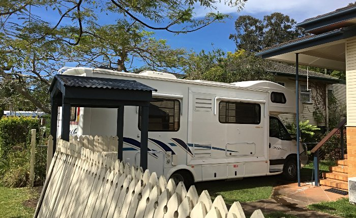 Fitting the motorhome in our front yard