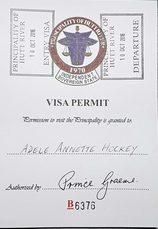 Principality of Hutt River Visa Permit