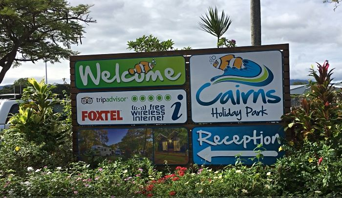 Cairns Holiday Park Sign