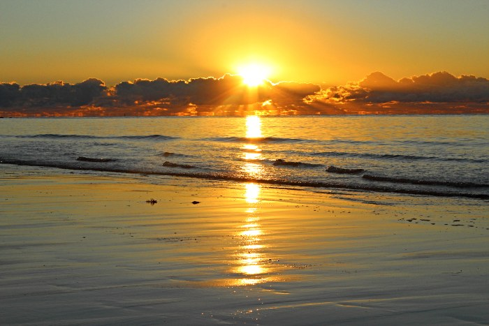 Sunrise from the beach in front of the Mission Beach Camping Area