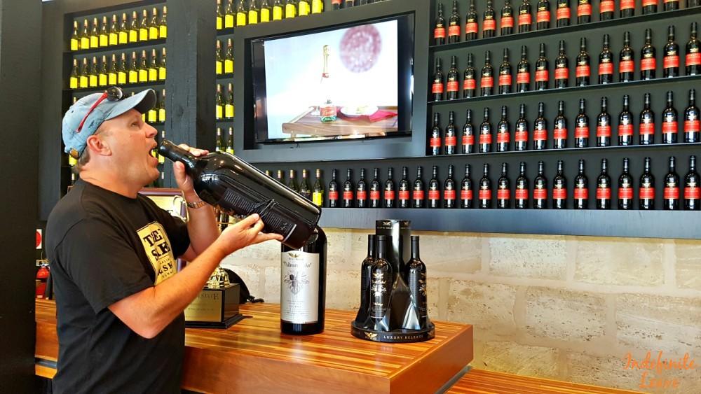 Sampling wine at Wolf Blass, Barossa Valley SA