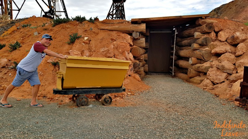 Having fun at Hannans North Tourist mine, Kalgoorlie WA