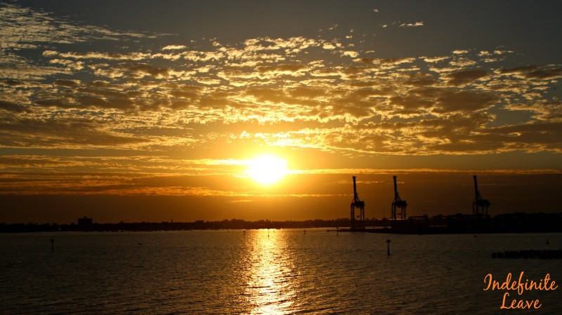 Sunset when leaving the Port in Melbourne for Tasmania