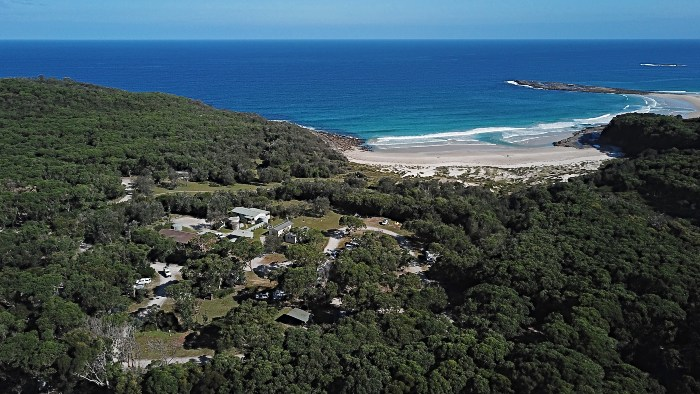 Aerial shot of Pretty Beach and the Campground