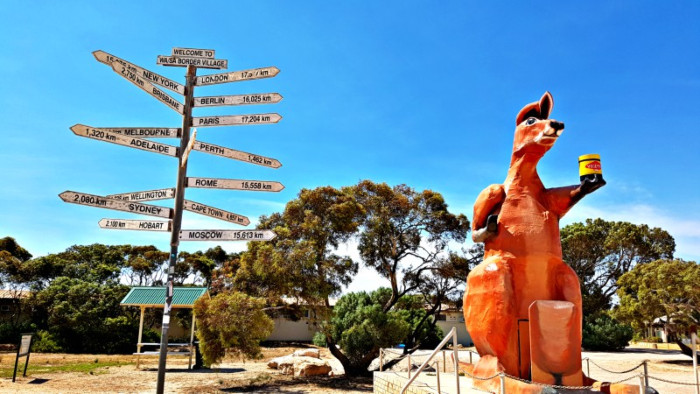 The Big Kangaroo with Big Vegemite Jar - SA/WA Border