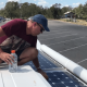 cleaning the solar panels-