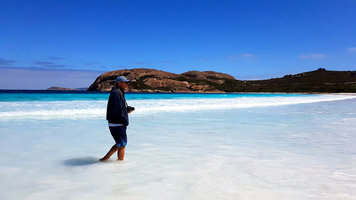 The sand is stark white and the water a brilliant turquoise blue