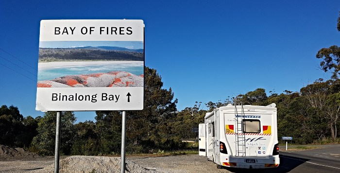 Bay of Fires Camping Sign at turnoff for Swimcart Beach
