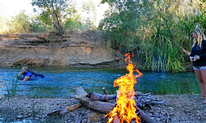 Campfire while free camping right beside the Gregory River