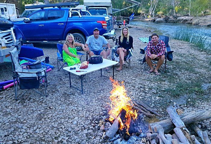 Enjoying a campfire with Kara and Trent