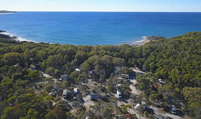 Aerial view of Workman's Beach Campground