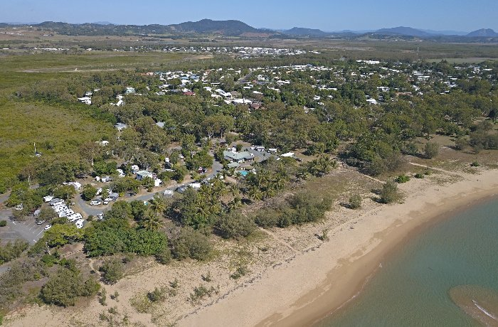 An aerial view of the Bucascia Beach Caravan Park Mackay