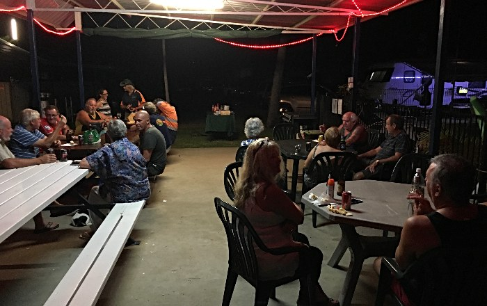 TThursday night cook up at the Bucascia Beach Caravan Park Mackay