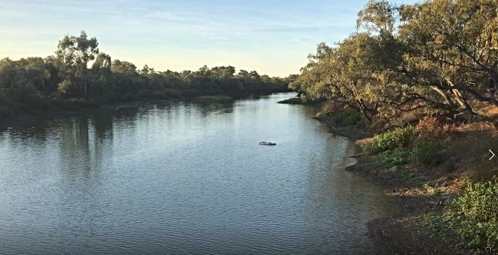 Looking down the Darr River from the Longreach Free Camping Area