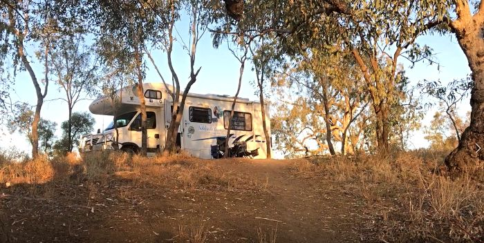 Our motorhome at the Longreach Free Camping Area