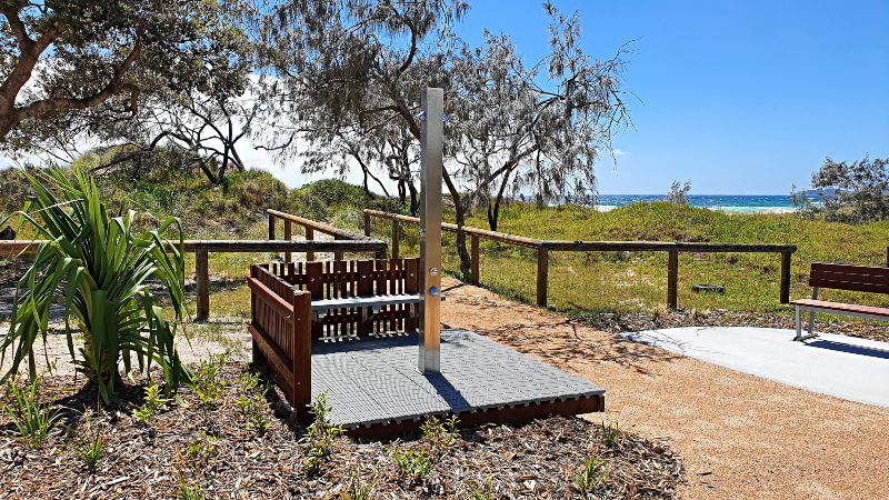 New outdoor showers at Noosa North Shore Campground