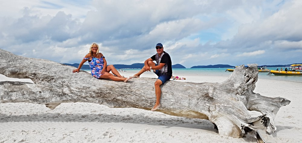 Kev & Adele chilling on a beached log at Hill Inlet