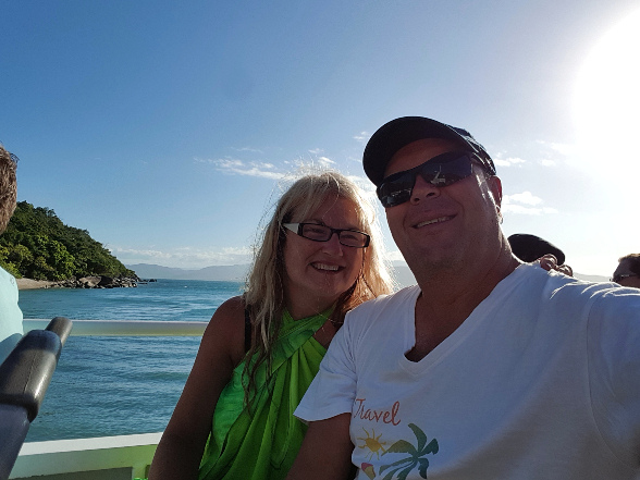 Kev & Adele on the boat after the awesome Day Trip to Fitzroy Island