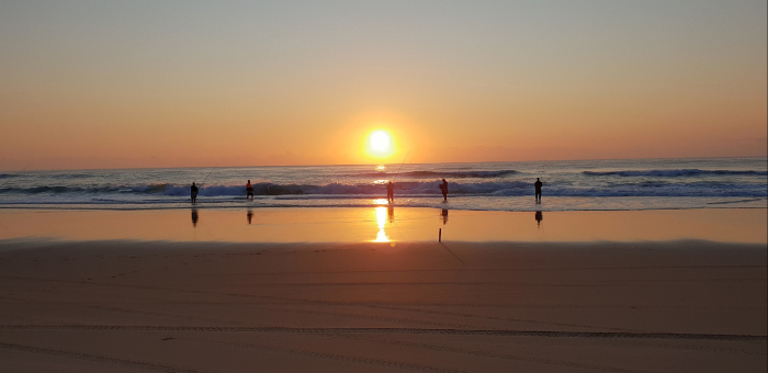 Fishing on Fraser Island at Sunrise