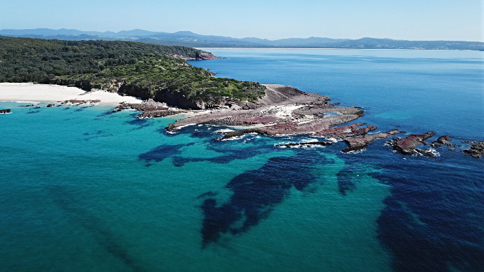 Aerial view of Haycock Point in Ben Boyd National Park