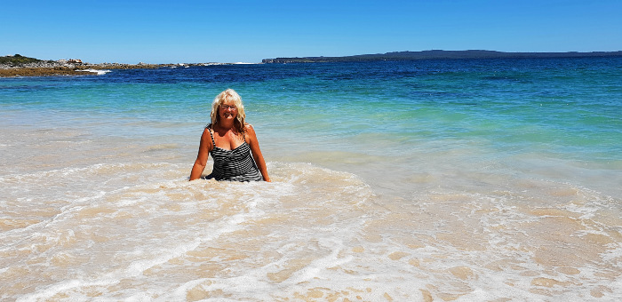 Adele enjoying a dip at Silica Beach