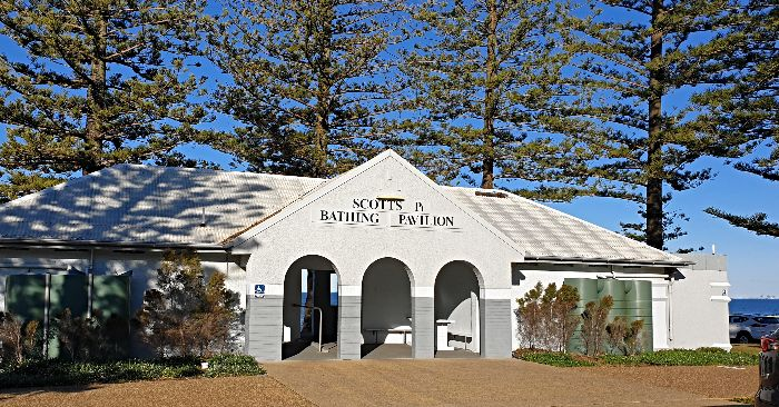 The Scotts Pt Bathing Pavilion still stands proud at the northern end of Margate Beach