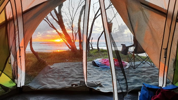 Tent Camping and waking up to the magnificent sunrises on Fraser Island