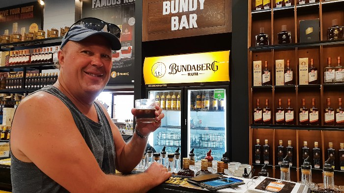Kev couldn't go past having a rum at the Bundy Rum Factory