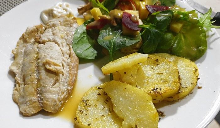 Fresh Fish, Salad and Herb Potatoes