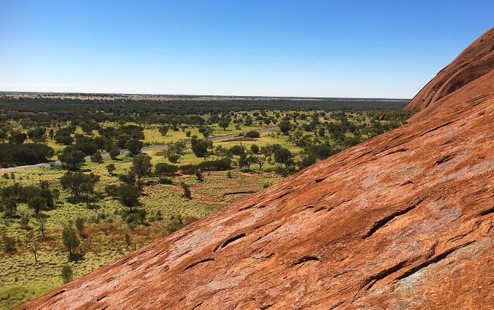 Looking down from Ayers Rock before the climb was closed