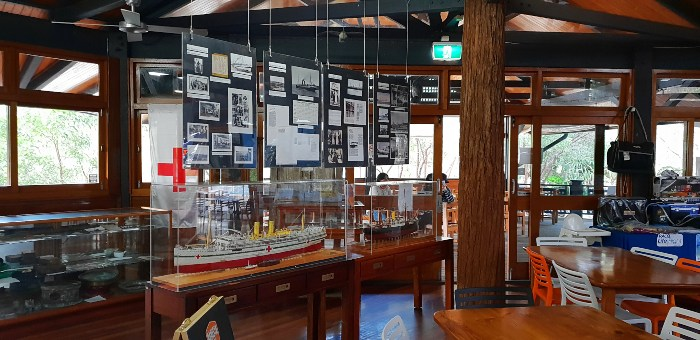 Memorabilia of the S.S. Maheno on display at the Happy Valley Retrest