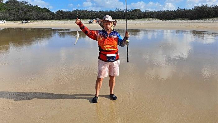 Adele enjoying fishing for whiting