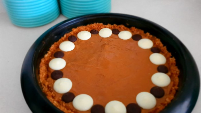 Caramel Tart - chocolate drops for added topper