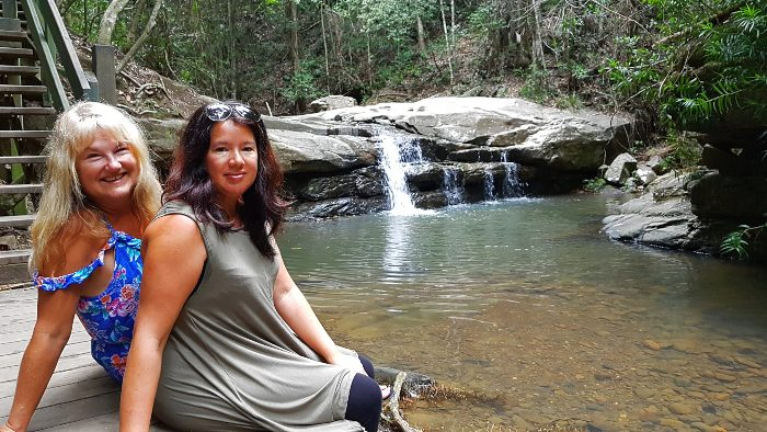 Enjoying the rock pools and small cascading water at Buderim Falls