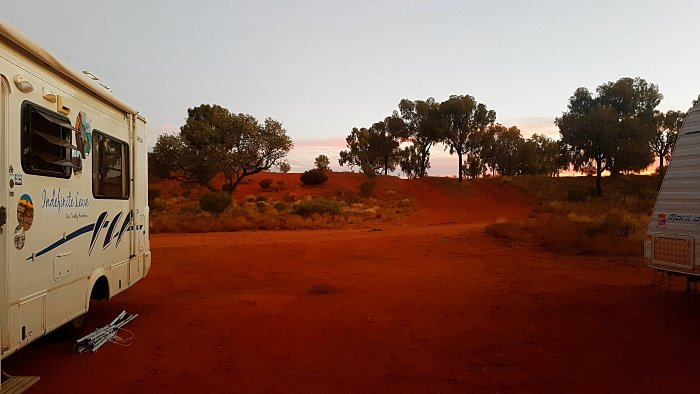 Free Camping at Desert Oaks Rest Area in Northern Territory