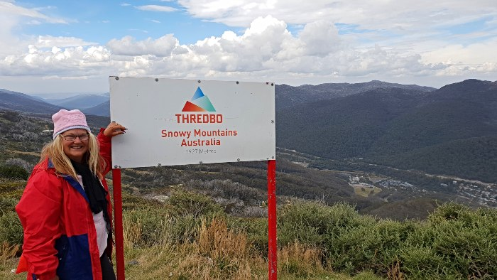 The Thredbo Snowy Mountains Sign at 560metres