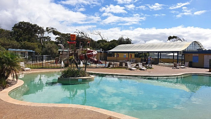 The pools and water park at Discovery Holiday Parks Pambula Beach