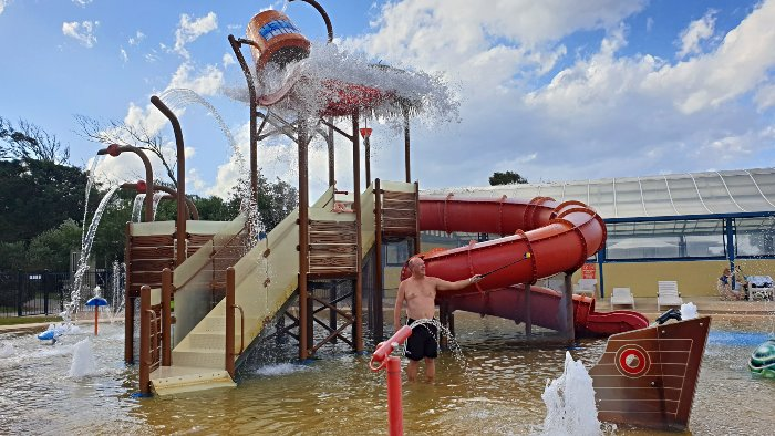 Having fun in the water park at Discovery Holiday Parks Pambula Beach