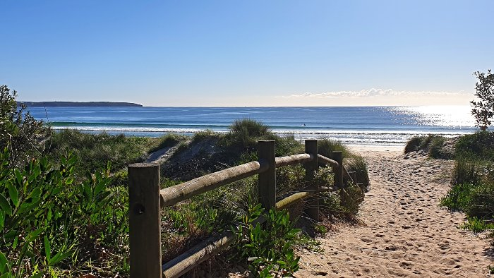 One of the entries to the beach directly from Discovery Holiday Parks Pambula Beach