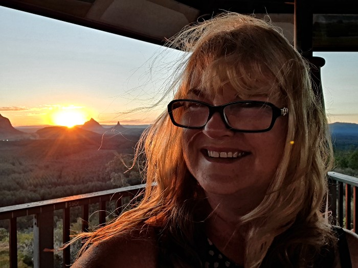 Enjoying the sunset from the Wild Horse Mountain Lookout