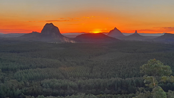 Stunning Sunset glow behind the Glasshouse Mountains