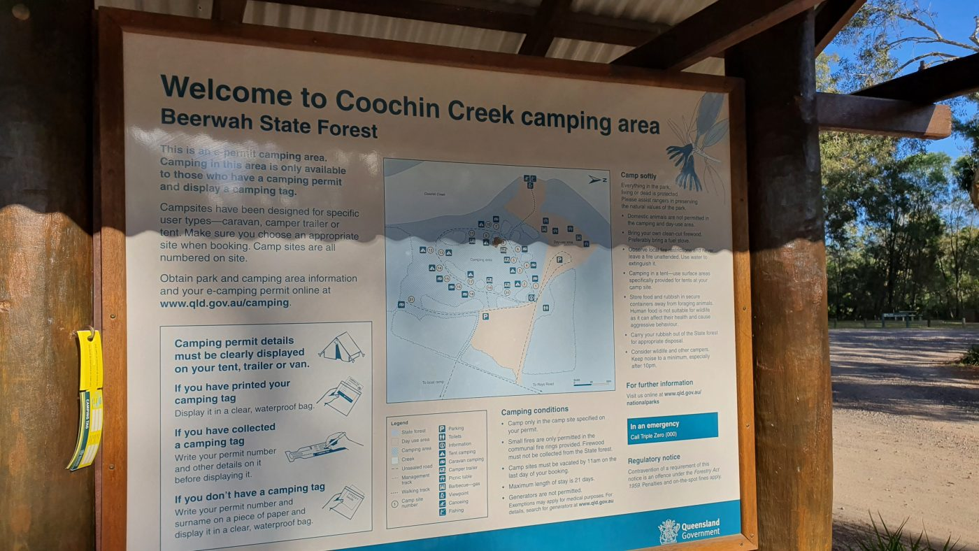 Coochin Creek Campground Information Board