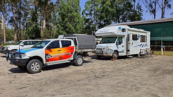 Our campsite at the Beerwah Sportsground