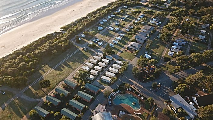An overhead view of the Discovery Holiday Parks Pambula Beach