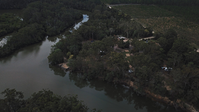 Overhead view of the Coochin Creek Campground