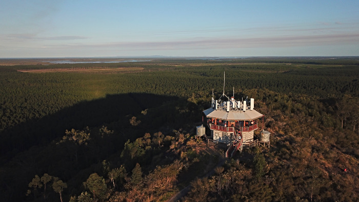 A drone view of the Wild Horse Mountain Lookout