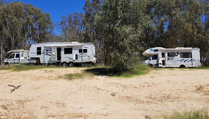 Our campsite right on the Murray River