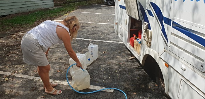 Filling our collapsible and portable water containers