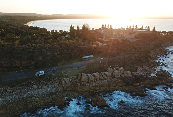 Overhead view of Trial Bay Gaol Campground