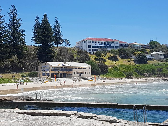 View of the Pacific Hotel from the beach at Yamba